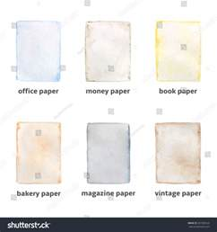 different types paper made watercolor technique stock