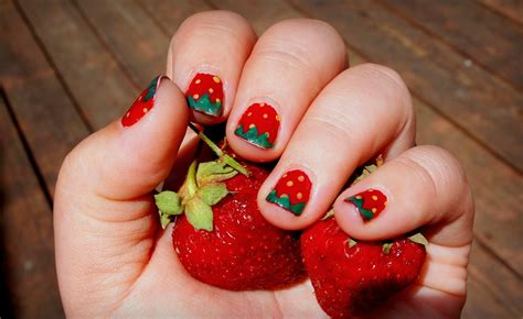 tutorial nail art strawberry this is a very fun look for summer like share or save