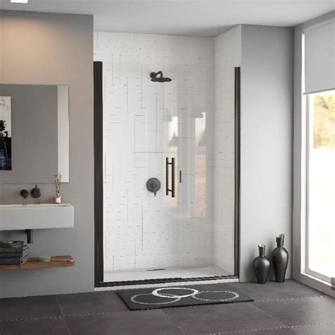 38 Shower Door Shop Coastal Shower Doors Illusion Series 38 In To 39 25 In Frameless Rubbed Bronze Hinged