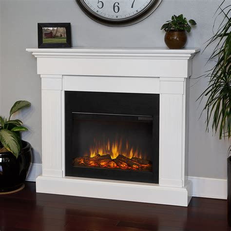 shop real 47 4 in w 4 780 btu white wood wall mount - Places To Buy Electric Fireplaces