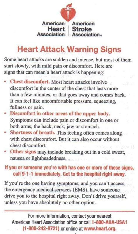 8 Warning Signs Of A Attack by Attack Warning Signs American Association