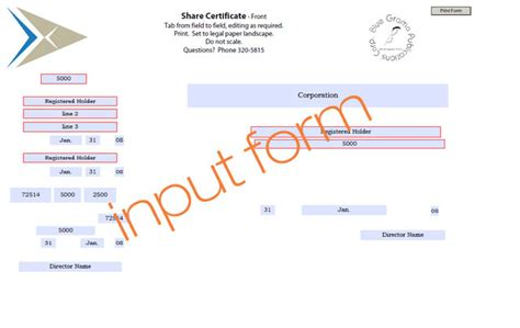 shares certificate sle