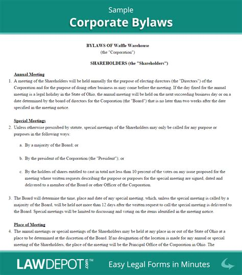 Sle Corporate Bylaws Png 878 215 995 Business Minds Pinterest Document Printing Corporate Bylaws Template Pdf