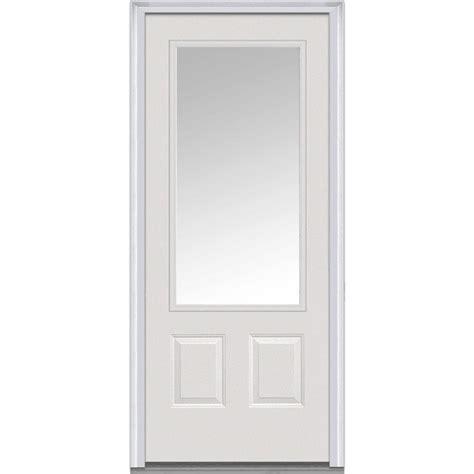 3 window front door mmi door 36 in x 80 in clear glass left 3 4 lite 2 panel classic primed steel prehung