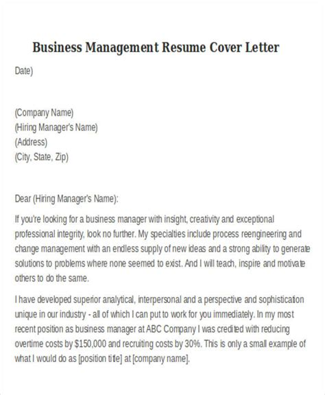 business administration resume cover letter 28 images
