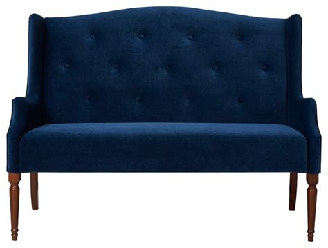navy blue tufted sofa izzy tufted settee navy blue modern loveseats by