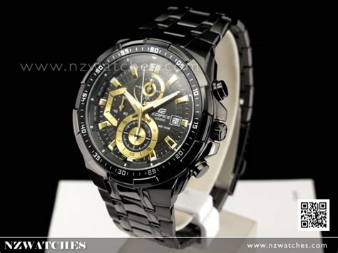 Efr 539bk 1av buy casio edifice black gold ion plated mens watches efr