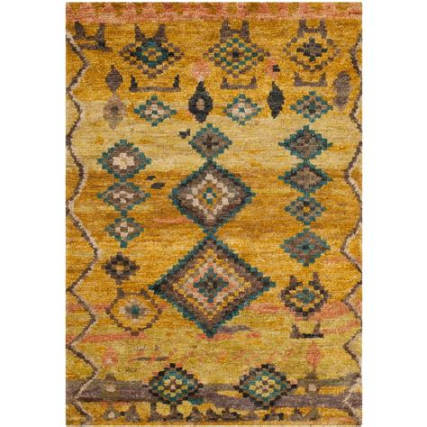 Tangier Outdoor Rug Safavieh Tangier Gold 4 Ft X 6 Ft Area Rug Tgr652a 4 The Home Depot