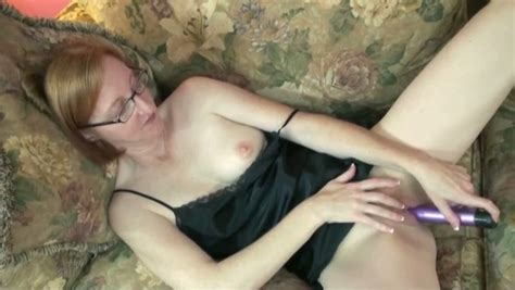 Mature Redhead Lady In Glasses Slams Her Crotch With A
