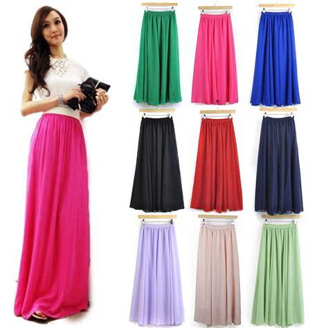 s high quality chiffon skirt high waist elastic