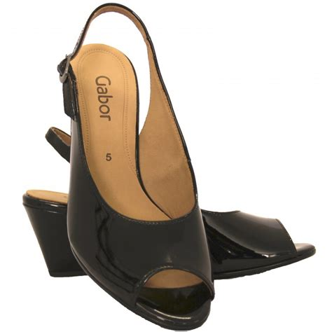 Peep Toe Shoes by Gabor Shoes Betti Peep Toe Shoe In Black Patent