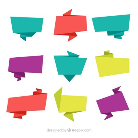 origami signs colored origami banners set vector free