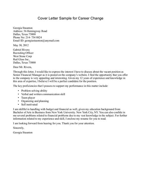 sle cover letter for career change position