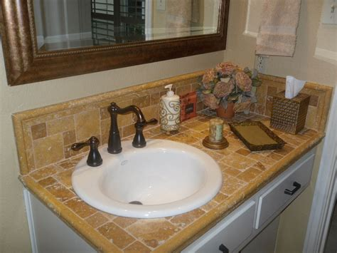 tile bathroom sinks travertine tile counter top with porcelin sink master