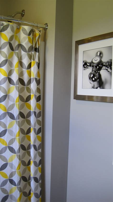I married a tree hugger cheery yellow and grey bathroom