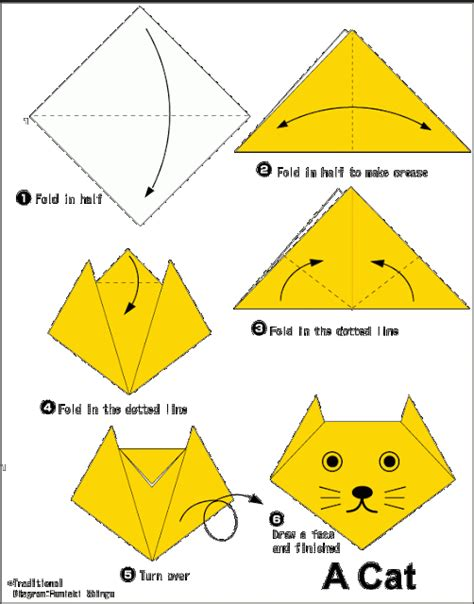 Origami Faces - easy origami for cat courage confidence