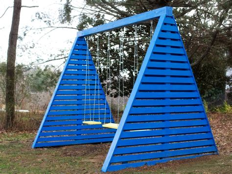building a swing set how to build a modern a frame swing set hgtv