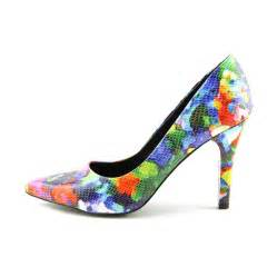 nine west gwendle3 peep toe multi color heels heels