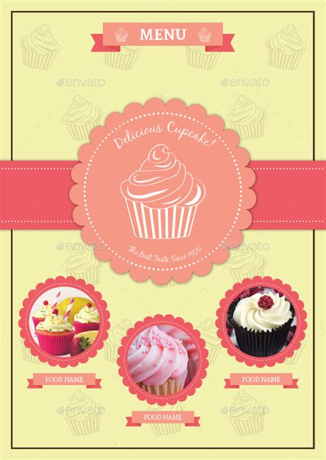 cupcake menu template bifold cupcake menu template vol 2 by avindaputri