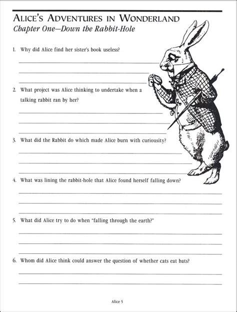 alice in wonderland printable activity sheets alice in wonderland comprehension guide 034276 details