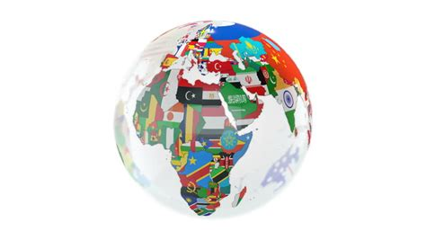 flags of the world x plane full hd loopable globe with all countries flags stock