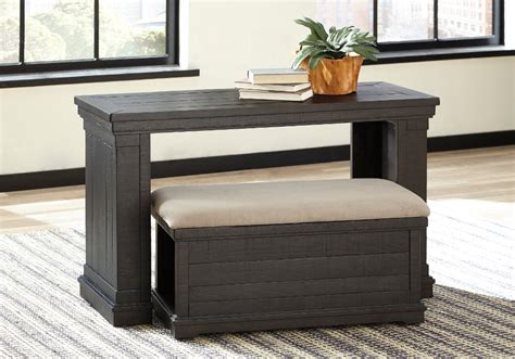 sharlowe charcoal sofa table with ottoman louisville - Sofa Table With Ottomans