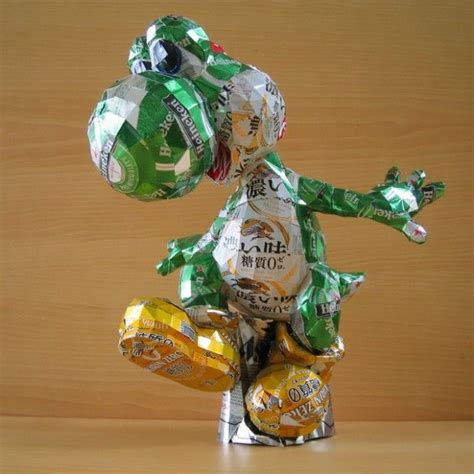 things made out of recycled materials beyond excellent yoshi sculpture made from heineken beer