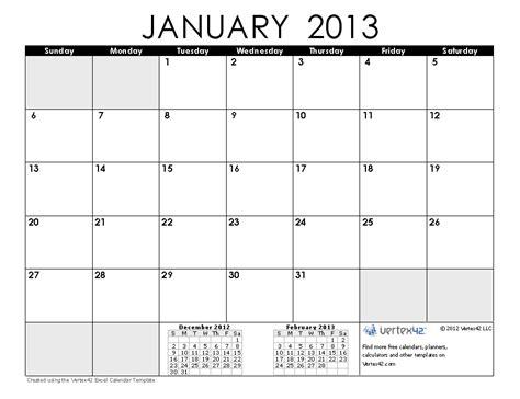 January 2013 Calendar Free Calendars And Calendar Templates Printable Calendars