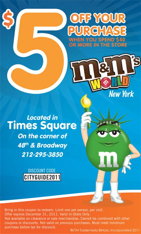 discount vouchers new york m m s world new york coupon