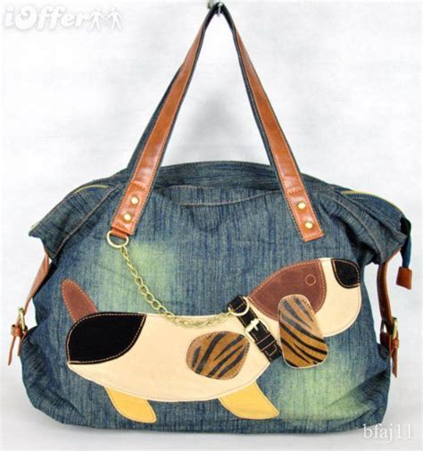 Tas Totebag Strawlicious Button Bst001 Blue bag with leather handles and applique denim bags helmets and shoulder bags