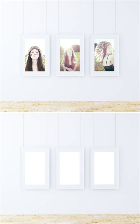 triple poster frame mockup premium and free graphic