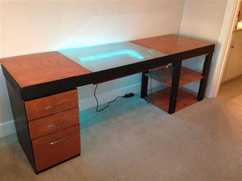 mirror glass gaming computer desk inspirations design
