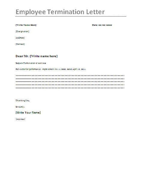printable sle letter of termination form laywers
