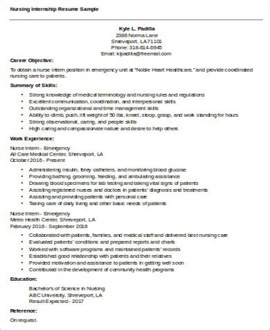 Internship Resume Objective by 7 Nursing Resume Objective Sles Sle Templates