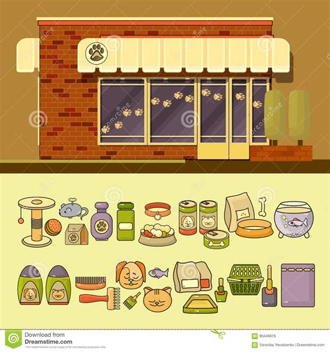 store layout vector vector shop and set of cute colorful pet icons stock