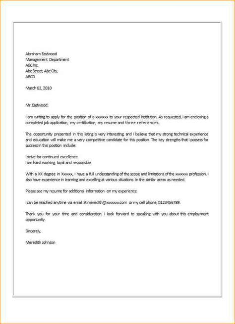 how to write cover letter for application simple application letter format