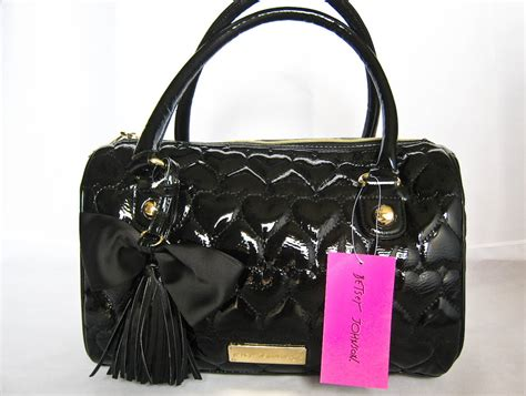 Betsey Johnson Handbag Quilted Satchel by Betsey Johnson Betseyville Be Mine Black Boston Quilted