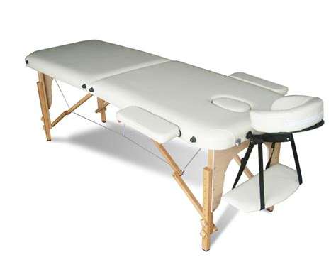 Beige portable massage table bed beauty therapy couch 2 section wood cover bag ebay