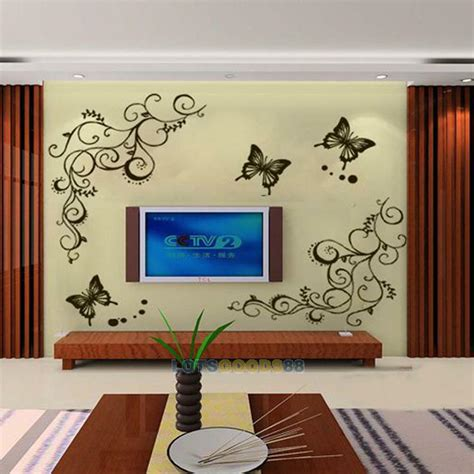 home decor wall decals new removable butterfly fly flower wall stickers decal