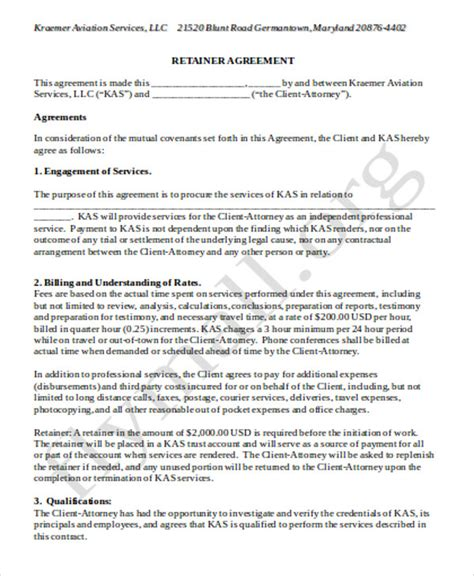 retainer agreement templates sle consulting retainer agreements 9 exles in