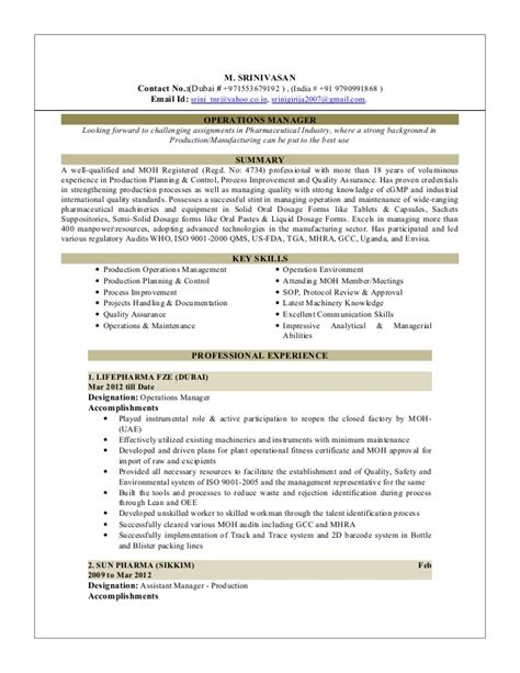 resume plant manager manufacturing