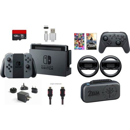 mario kart 8 console nintendo switch 32gb console gray con 9 items bundle
