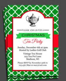 christmas tea party invitation printable or printed with free