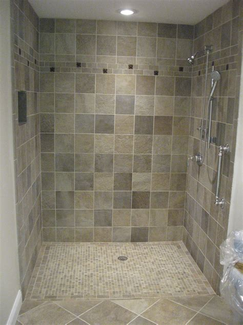 Pictures Of Tiled Showers And Bathrooms Cool Chrome Polished Free Standing Shower Single Handle Attach At Grey Tiled Shower With