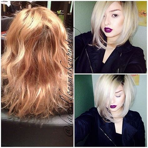 blonde bob dark roots 3 5 hrs of color correcting and chopping off hair last