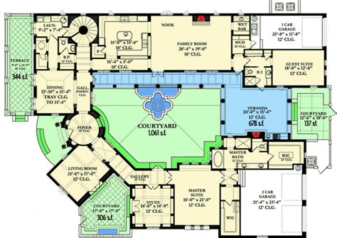 dream home plans with photos courtyard dream home plan 82002ka architectural