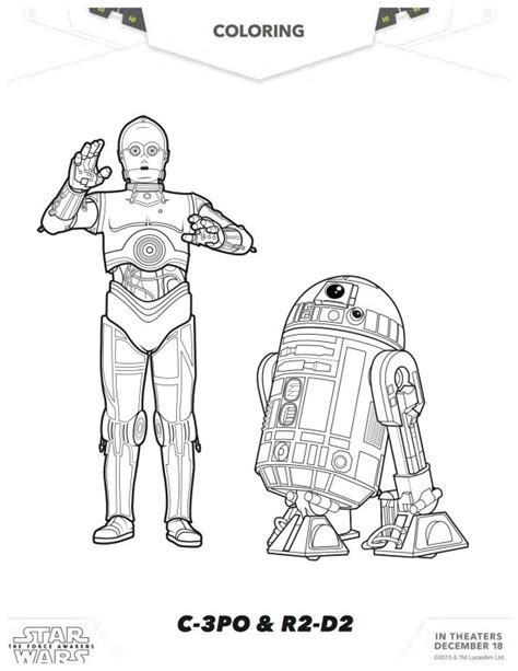 coloring pages wars awakens wars the awakens c 3po r2 d2 coloring page