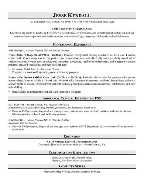 Resume Sles For Nurses Aide Exle Aide Resume Free Nursing Sle