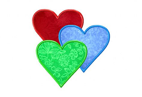 embroidery applique designs free three hearts machine embroidery design includes both