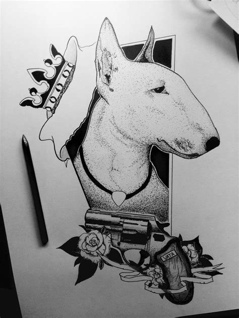 Tattoo Gun For Animals | bullterrier blackandwhite dotwork gun rose king